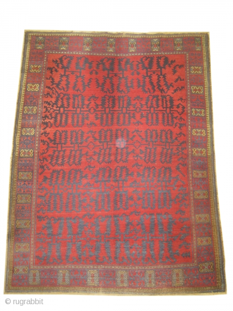 Indian, knotted circa in 1924, semi antique, 208 x 155cm  carpet ID: DD-40 the knots are hand spun wool, allover creative design surrounded with birds, in good condition and fine knotted.