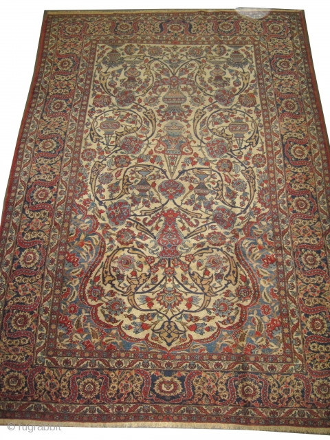 """Isphahan Persian knotted circa in 1918 antique, 320 x 219 (cm) 10' 6"""" x 7' 2""""  carpet ID: P-5281 High pile, the knots are hand spun wool, in perfect condition, vase design,  ..."""