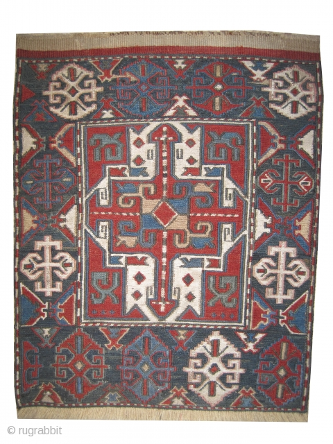 Soumak bag face Caucasian knotted circa 1870  Antique, vegetable dyes, collectors item, woven with Soumak technique and 100% hand spun wool, the white color is cotton, the two edges are already repaired and  ...