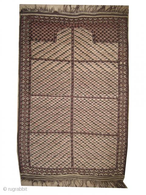 "Beshir prayer Turkmen circa 1890, antique, collector's item, Size: 130 x 91 (cm) 4' 3"" x 3' , carpet ID: ZZ-1  The background color is ivory, prayer design, very rare example, vegetable  ..."