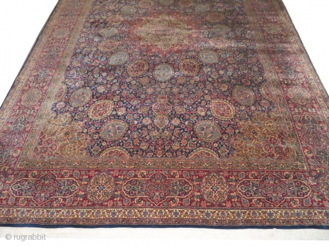 Kashan Kurk Persian, knotted circa in 1935, 340 x 483 cm, carpet ID: LUB-1 The knots are hand spun lamb wool, the background is indigo, the center medallion and the corners are soft  ...