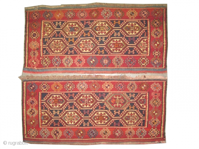 "Soumak Caucasian woven circa in 1905 antique. Collector's item. Size: 100 x 46 (cm) 3' 3"" x 1' 6""  carpet ID: A-159 A pair of Soumak bag faces, in perfect condition, soft  ..."