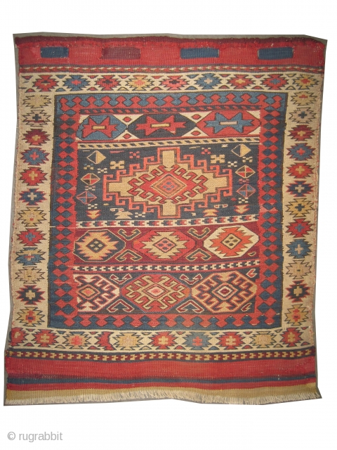 """Moghan Caucasian sumak bag face, late 19th century. Antique, collector's item. Size: 61 x 52 (cm) 2'  x 1' 8""""   carpet ID: SA-1110  vegetable dyes, perfect condition, very fine woven  ..."""