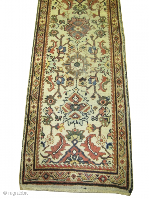 "Mahal Persian knotted runner circa in 1910 antique, Size: 404 x 84 (cm) 13' 3"" x 2' 9"" 