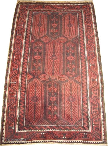 """Belutch Persian 1908 antique. Size: 192 x 120 (cm) 6' 4"""" x 3' 11""""  carpet ID: E-226 Vegetable dyes, high pile, good condition, the black color is oxidized, the knots are  ..."""