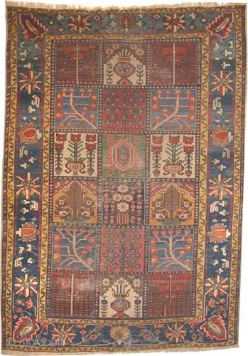 "Baktiar Persian circa 1890 antique. Collector's item, Size: 200 x 140 (cm) 6' 7"" x 4' 7""  carpet ID: K-3459 Vegetable dyes, the knots are hand spun lamb wool, the black  ..."