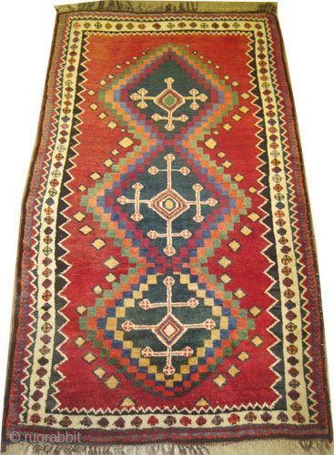 """Gabbeh Nomad Persian old, collector's item. Size: 197 x 119 (cm) 6' 6"""" x 3' 11""""   carpet ID: M-388 Vegetable dyes, the knots are hand spun wool, the warp and the  ..."""