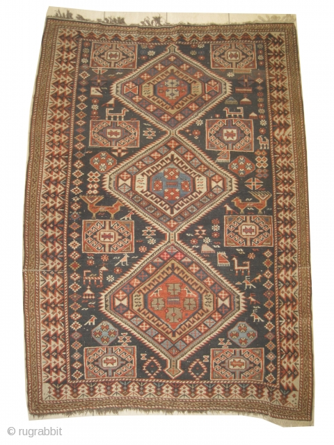"""Shirvan Caucasian circa 1890 Antique, collector's item, Size: 178 x 125 (cm) 5' 10"""" x 4' 1""""  carpet ID: RSZ-10 the knots are hand spun wool, vegetable dyes, the black color is  ..."""