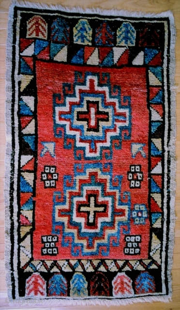 """Central Anatolia, Konya/Karaman region yastik, first half 19c. The distinctive palette for this yastik indicates the weaver was likely from Tashkale. Two large stepped and hooked polygons of the """"Memling"""" style. Good  ..."""
