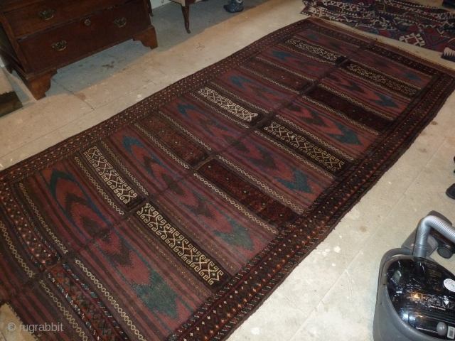 Good mixed piled and flat-woven baluch, good condition and colours including lovely green,  315 x 150 cm, 10.3 x 4.9 ft.