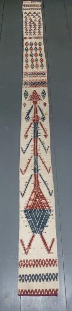 Interesting Turkmen tent band, flat woven wool on cotton, 270 x 20 cm, 106 x 7.9 inch