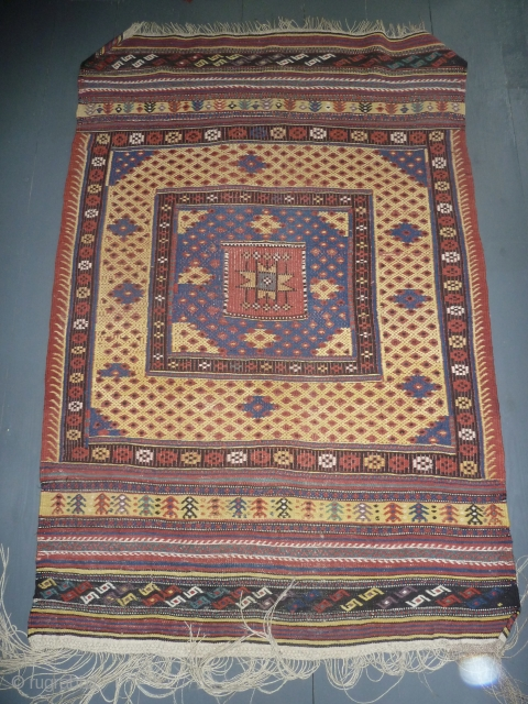 Very handsome antique cicim/zili with good colours including an aubergine, west Anatolia Fethiye? Canakkale? according to a Turkish author, good condition, handy size, 185 x 123 cm, 6 x 4 ft.