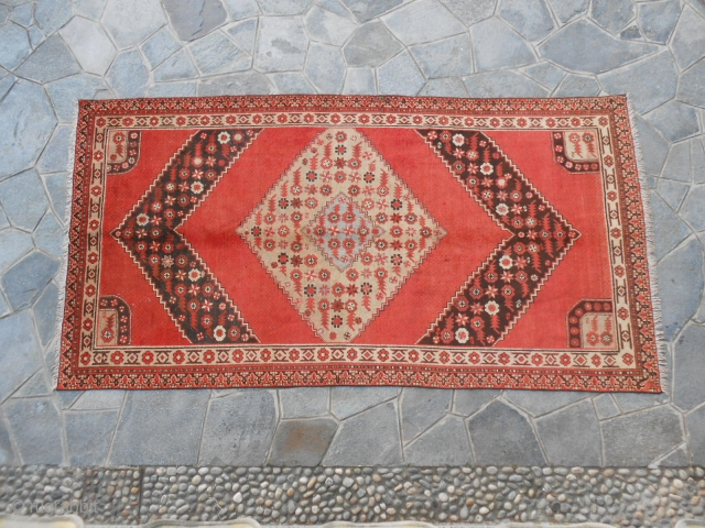 322 x 167 cm Oriental carpet knotted in the region of XINJIANG OASI of KHOTAN, EAST TURKESTAN. Item # 200. Antique carpet about 80/90 years old. In good condition. Original design.