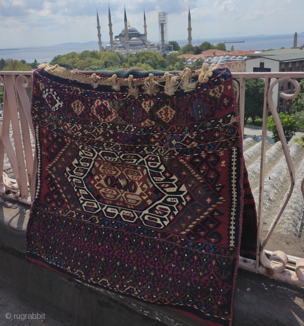 Antique Malatya sinanli Saddlebag, Perfect shape with goldish details inside. All vegatable dyes and colors are strong. Size 130x75cm for prices please contact. shipping worldwide!