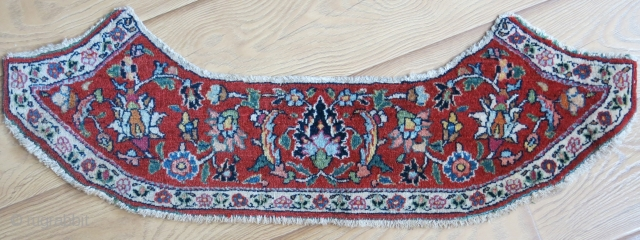 """Khorasan Dorodkhsh saddle cover fragment, 19thcent. Great condition with natural colors. Moth nibbles on back side but it has been to freeze. Size: 32"""" X 7"""" (82 cm × 18 cm)."""