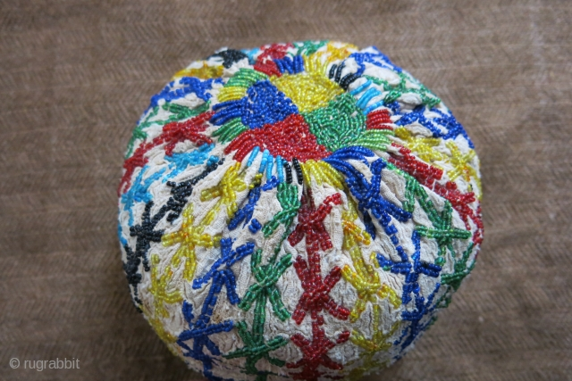 Anatolian– Kutahya, tribal glass beads embroidered hat. All beads have great color shades of natural dyes. It has been used on special holidays and ceremonial days (circumcision). It is well used and  ...