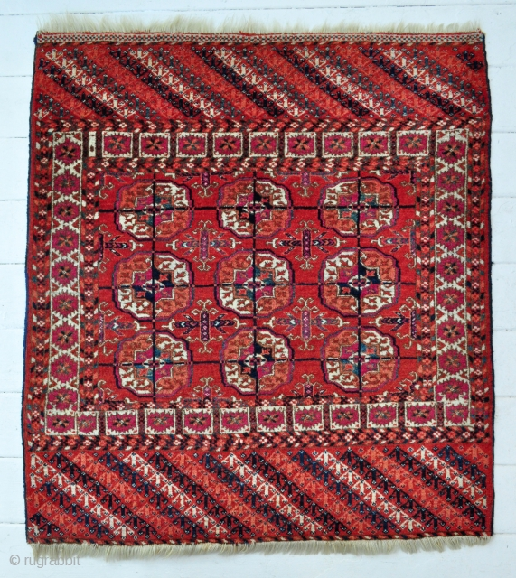 Tekke Turkmen Wedding Rug, great condition, full fluffy pile, lovely natural colors, just some old glue around the perimeter on the back but it seems to be removable. I have not tried  ...