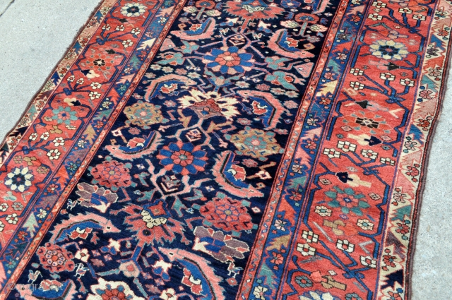 NW Persian Kurdish Long rug , glossy wool and colors, tight weave, great big old rug, cut and shut in length, the fringes are not original, have been added, offered reasonably as  ...