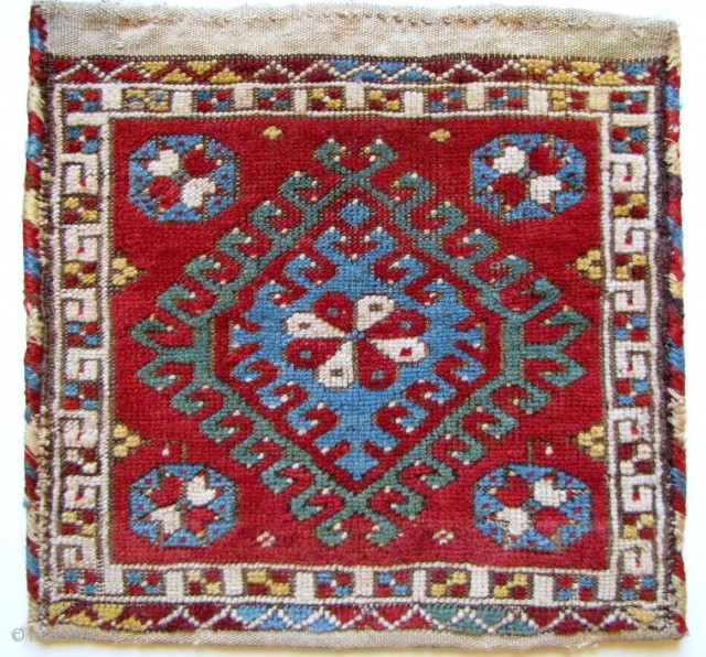 """West Anatolian Bag, complete with kilim back, notice the bird heads in the hooks? great border, excellent colors, all original - about 17"""" x 17"""" - 44 x 44 cm."""