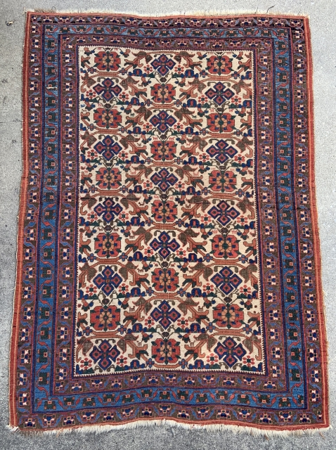 Afshar Rug with ivory field and lovely blues - 4'5 x 6'3 - 135 x 190 cm - offered as is for a reasonable price