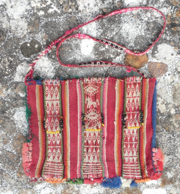 """Here is a beautiful little Bolivian Amarya Chuspa measuring 9"""" wide and 7 1/2"""" tall. These are made for the workers in the high altitude to carry cocoa leaves which they chew  ..."""