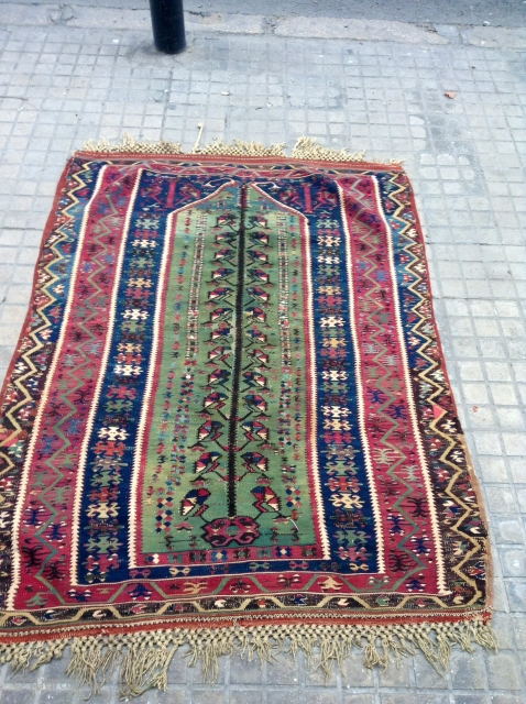 Anatolian. Kilim  Prayer very beautiful  colors and very fine 150 years old 