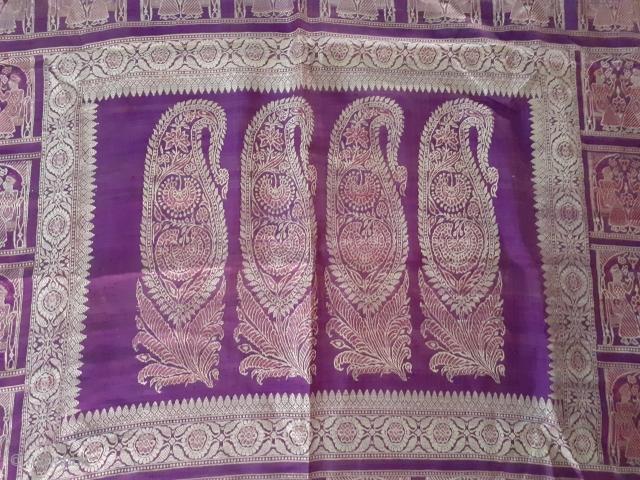Antique Indian balucha saree from west Bengal, India, circa 19c
