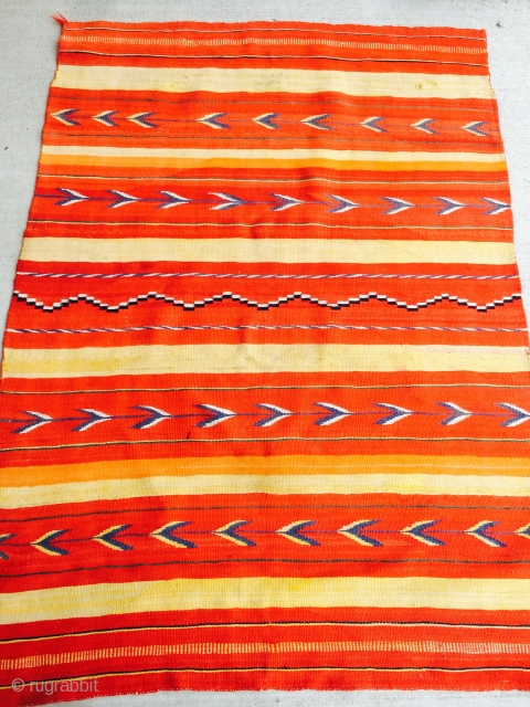 "As found: 1890's to 1910 transitional Navajo rug measuring 4'11""x 3'7"" in good condition.  More pics available upon request as well as condition report.  Thanks."