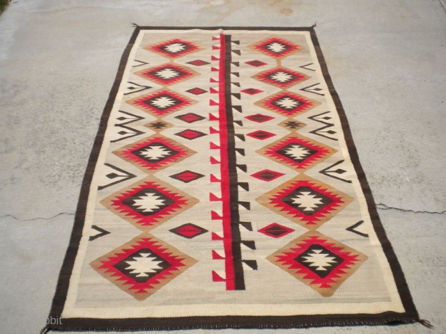 "Rug Curator's find as found: A 1930's to 1940's Navajo rug measuring 51""x 90"" in very good condition.  Thanks for looking."