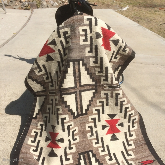 """As found: Mid 20th century (1940's -1950's) vintage Navajo rug measuring 4'11""""x 3'5"""" in mint condition.  Has 7 warps and 12-14 wefts per square inch.  Wool is Churro and natural  ..."""
