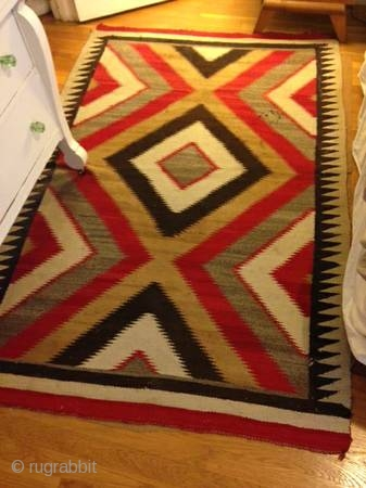 """The Rug Pickers find as found: A vintage Navajo rug measuring 50""""x 75"""", has two area's with holes, can E-mail more pics upon request.  All in all, nice colors, nice lay  ..."""
