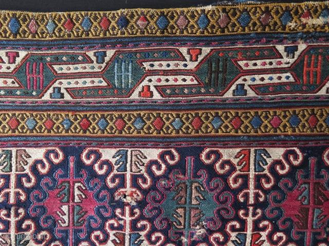 Shahsevan mafrash panel. Size: 1.08 ft x 3.04 ft – 58 cm x 130 cm.