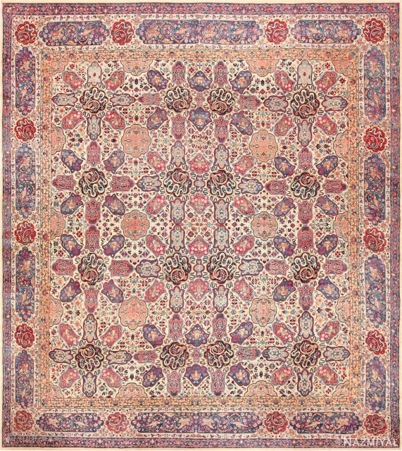 "ANTIQUE PERSIAN KERMAN , SIZE 13' X 14'10"" ( 3.96 M X 4.52 M ). This piece is part of our Feb 6th auction.:Antique Persian Kerman , Circa 1920's. Size is 13'  ..."