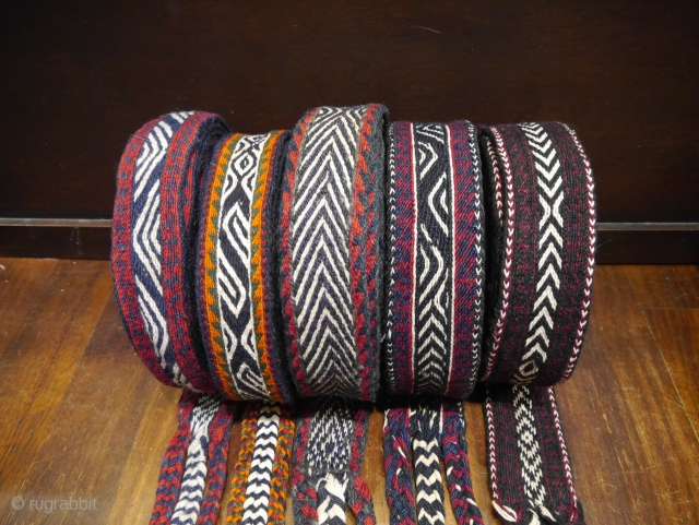 5 more Bakhtiari horse band in excellent original condition. These woven bands up to 800m long  are used to tie loads to the pack horses during migration. The 5-7cms wide wool  ...