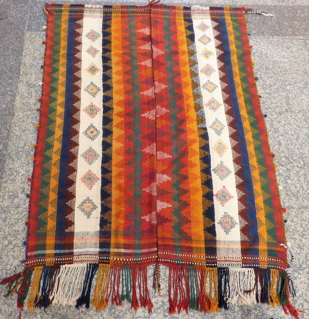 This moj (as the jajims are called in the South West of Iran), is finelly woven and all the dyes are natural. Normally mojes are thin, but this one is thick and  ...