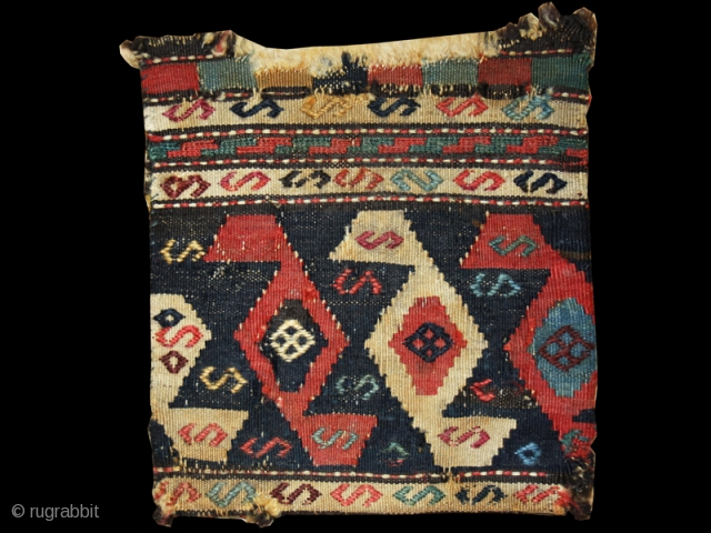 """Chanteh cod. 0687. Wool and cotton. Shasavan people. Nothwestern Persia. Late 19th. century. Cm. 24 x 28 (9.5"""" x 11""""). Very good condition (see images)."""