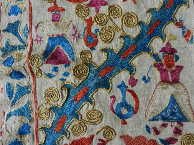 Suzani fragment cod. 0759. Silk embroidery on cotton. Early 19th. century or before.Size cm. 262 x 29 (103 x 11.5 inches). Very good condition.