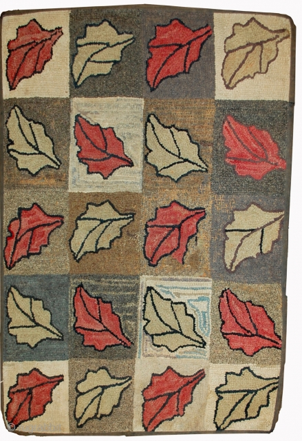 Handmade antique American hooked rug 2.2' x 3.4' ( 67cm x 103cm ) 1900s - 1B500