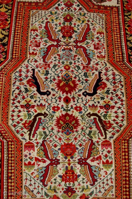 Unusual antique karabagh rug. 19th century. This white ground Caucasian karabagh rug has a spaced out herati field design and a gol ferengi style border.Edges overbound with original selvedges missing. Minor repiling.  ...