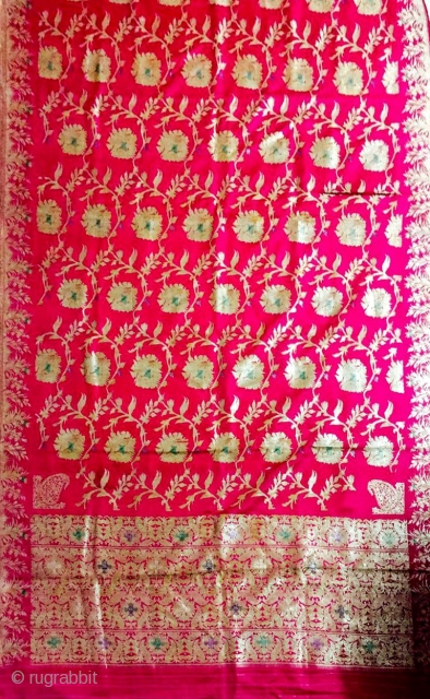 Vintage pink colour Pitambari sari from Benaras Uttar Pradesh India C.1900 made for the royal families .the fabric is in mint wearable condition.