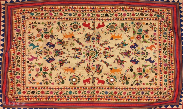 Vintage welcome hanging from Kutch region Gujrat India.the size of the hanging is 74 inches X 52 inches.