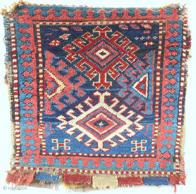 """Bold Northwest Persian bag with striped back. (20""""x 20""""). Good age (1870), good pile, good colors."""