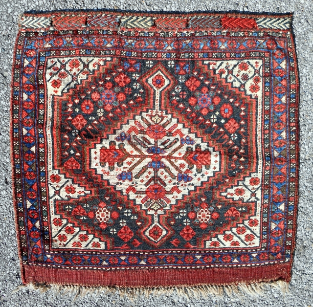 "Classic Persian Khamseh design bagface (27""x 26"") with characteristic silky wool and deeply saturated color. Very good condition, all original. Circa 1880-90."