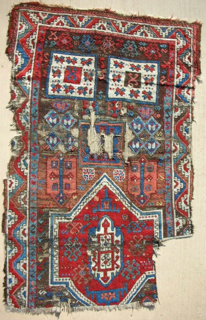 18th c. East Anatolian Kurdish Rug Fragment > Incredible Color!