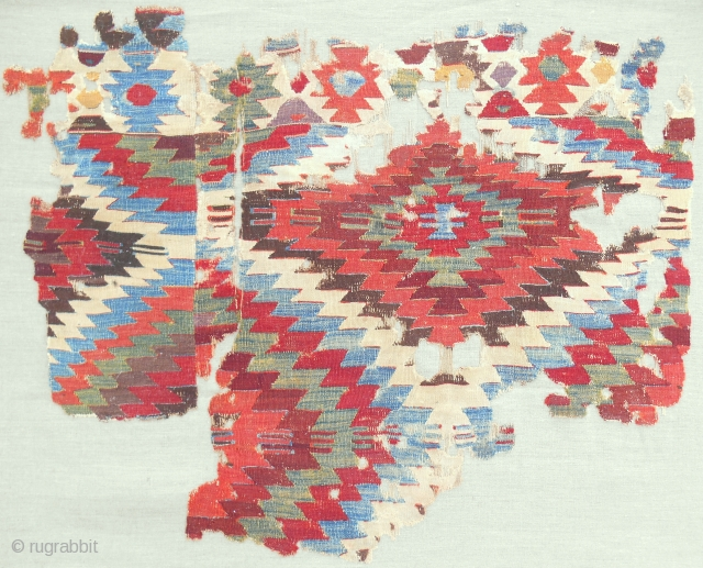 Stunning 18th c. Central Anatolian kilim fragment. Professionally conserved & mounted.
