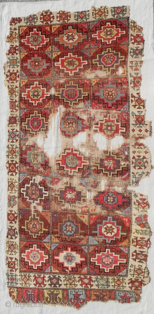 "18th c. rare small format Konya Cappadocia rug. Size is 45"" x 93"". Recently sourced in Turkey, cleaned and exquisitely mounted on linen. Extraordinary color combinations. Mostly medium pile. Check out the  ..."