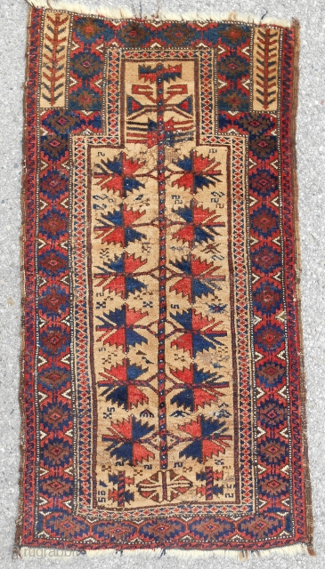 "Another camel field ""tree of life"" Baluch prayer rug with impressive stately drawing and mostly excellent pile. Superb color and wool, of course. Good age- 1880 or so."