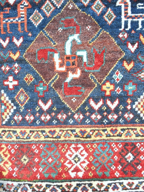 """Fabulous 19th c. NWP or Shahsavan large """"Pinwheel"""" opened bag (30""""x 28""""front; 30""""x 48""""opened). Great aubergine and full luxurious pile."""
