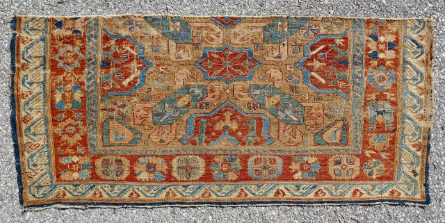 "Camel ground Alpan Kuba sumak rug fragment (49""x 22"") Archaic drawing. Great border. Old, floppy handle. 1850-70. Hand washed and silky."