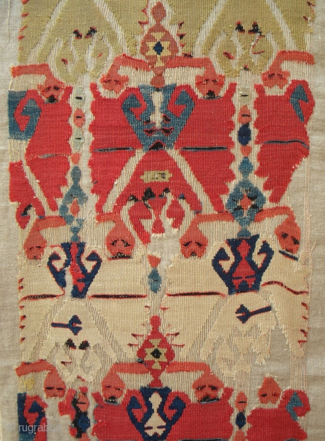 Anatolian kilim fragment, 287 x 50 cms, 19th century, mounted on linen.